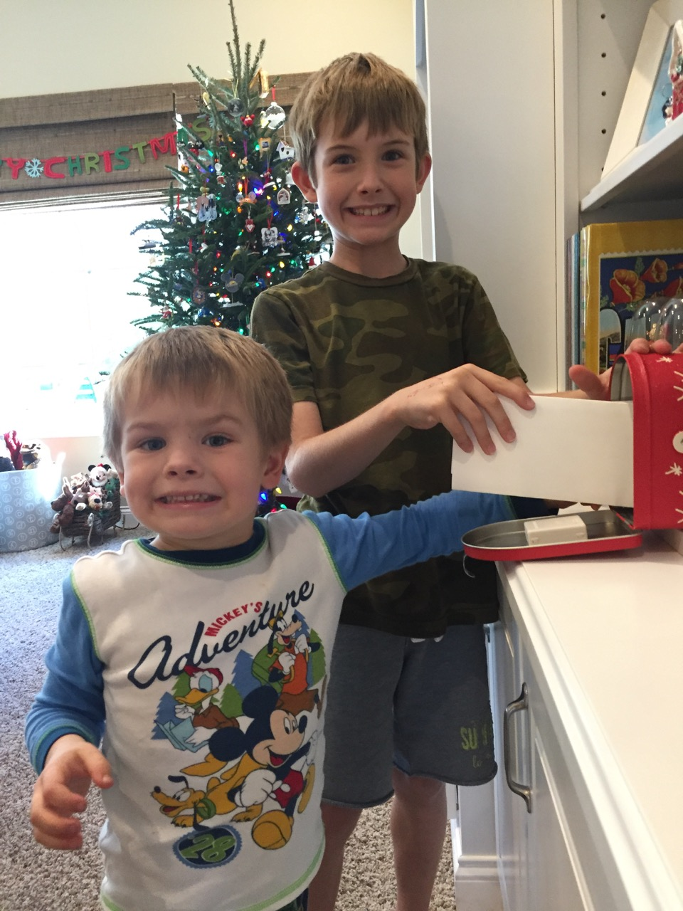 Boys Mailing Their Letters to Santa
