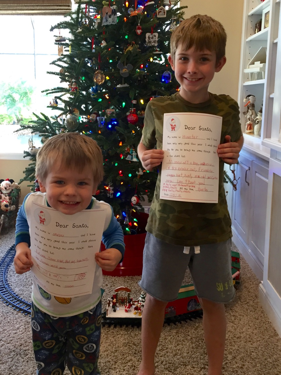 Boys Ready to Mail Their Letters to Santa