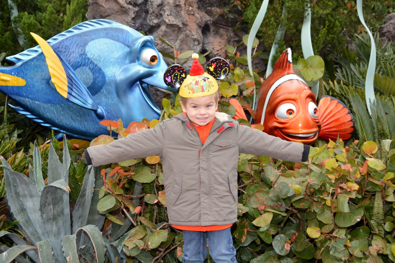 Sawyer with Dory and Nemo at Epcot