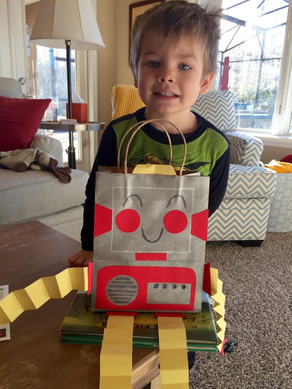 Robot Valentine's Bag
