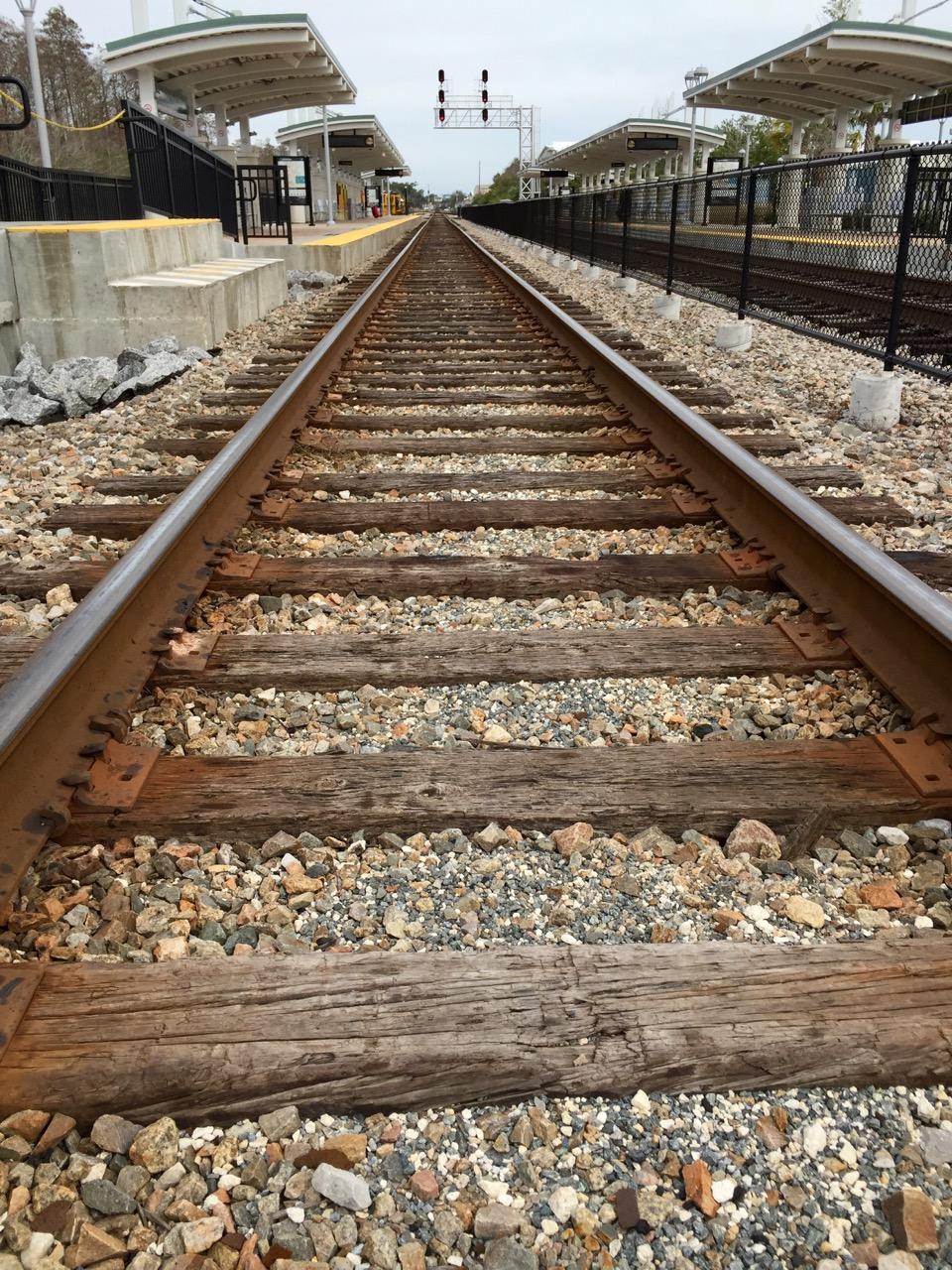 Sunrail Tracks at Sand Lake Road Station