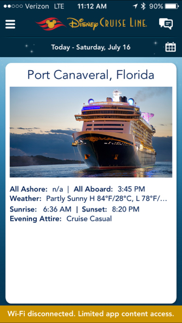 Disney Cruiseline Navigator App Day 1 Port Canaveral