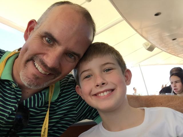 Hunter and Dad Cabanas Selfie