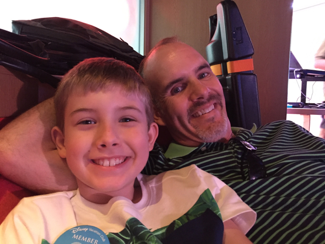 Hunter and Dad Chillin on the Disney Fantasy