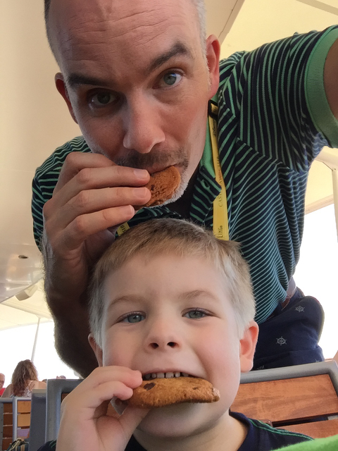 Sawyer & Dad Enjoying Cabanas Chocolate Chip Cookies