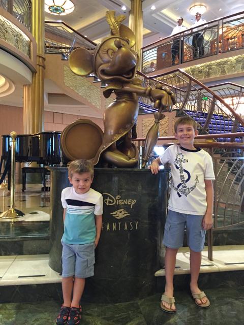 Disney Fantasy Cruise Boys by Minnie Statue