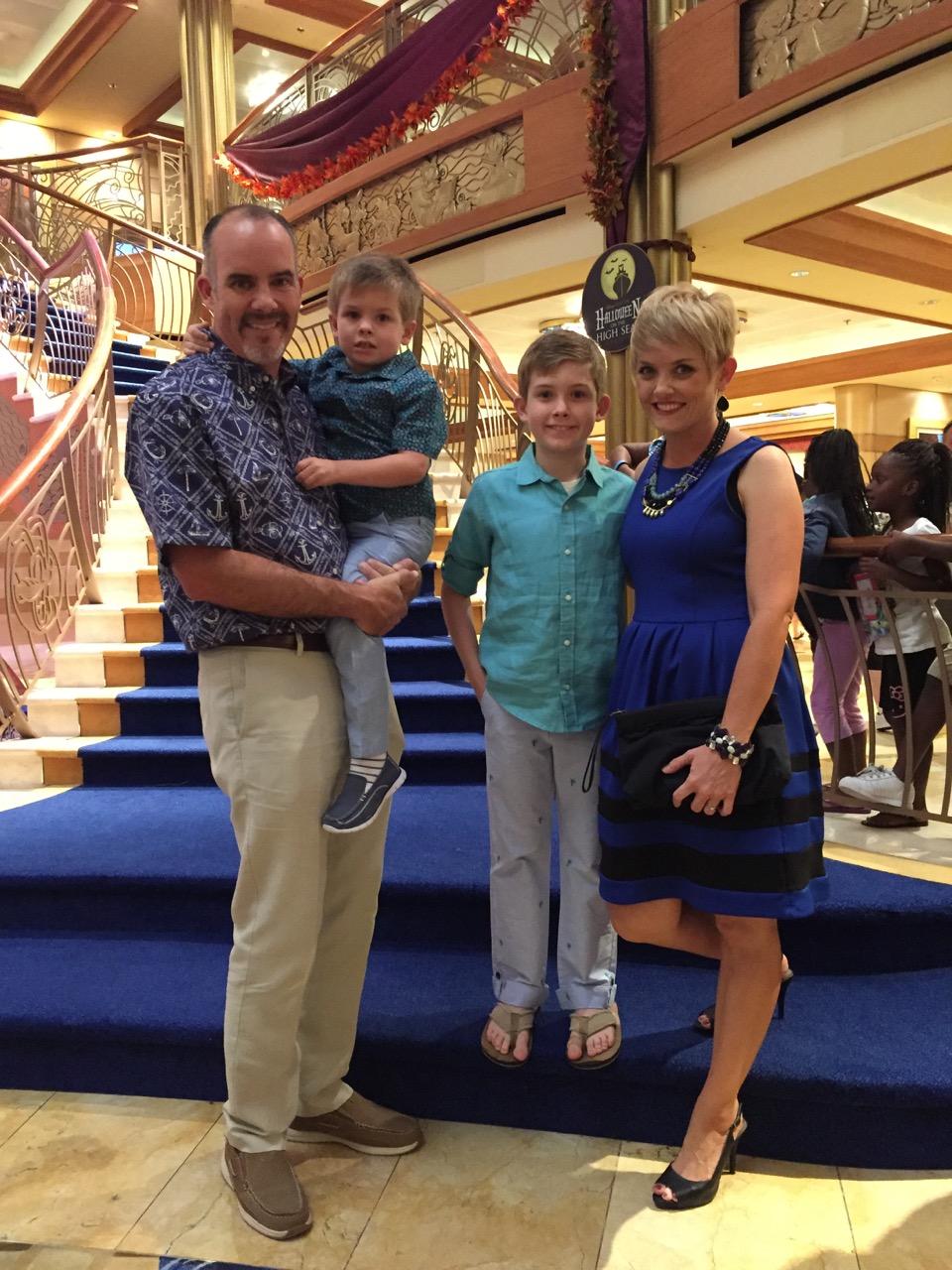 Disney Dream Atrium Stairway Family Photo