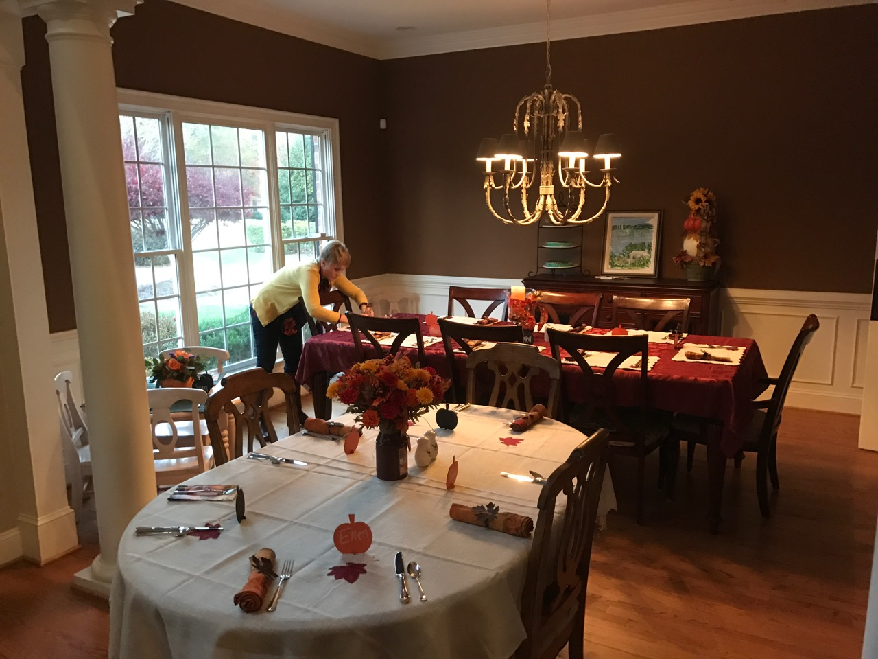 Thanksgiving table setup in Holly Springs, NC