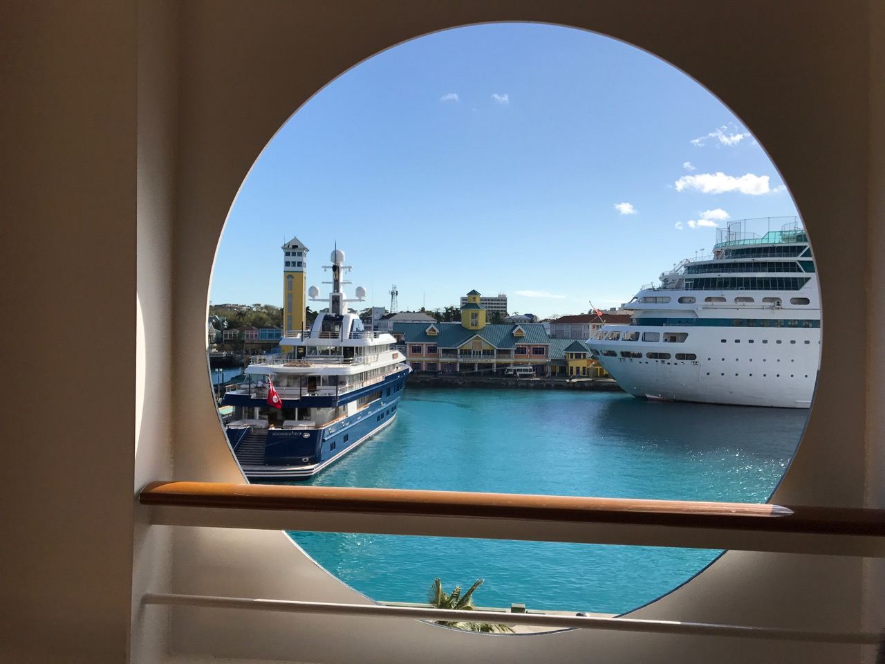 Nassau Port Hole View of Cruise Ships