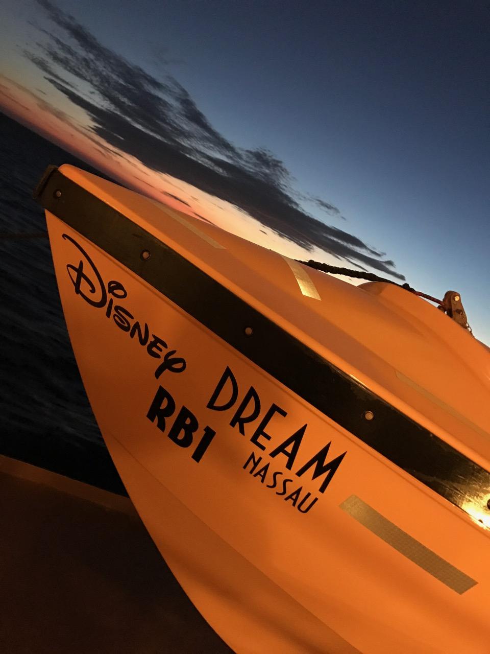 Disney Dream Lifeboat at Sunset