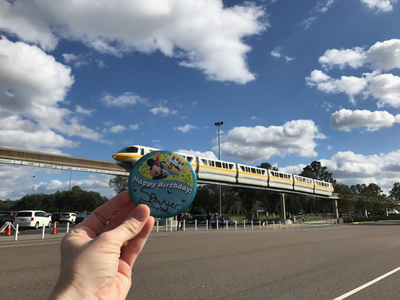 Epcot Birthday Button & Monorail