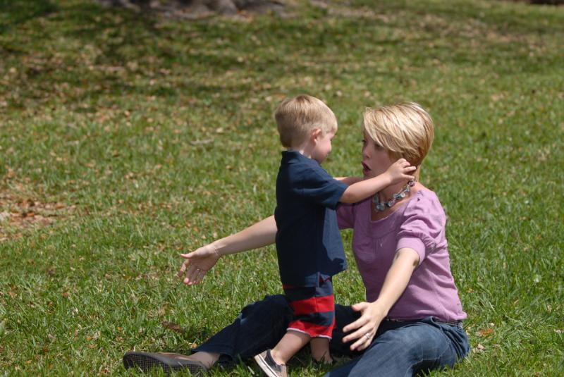 Hunter giving Mom a tackle hug