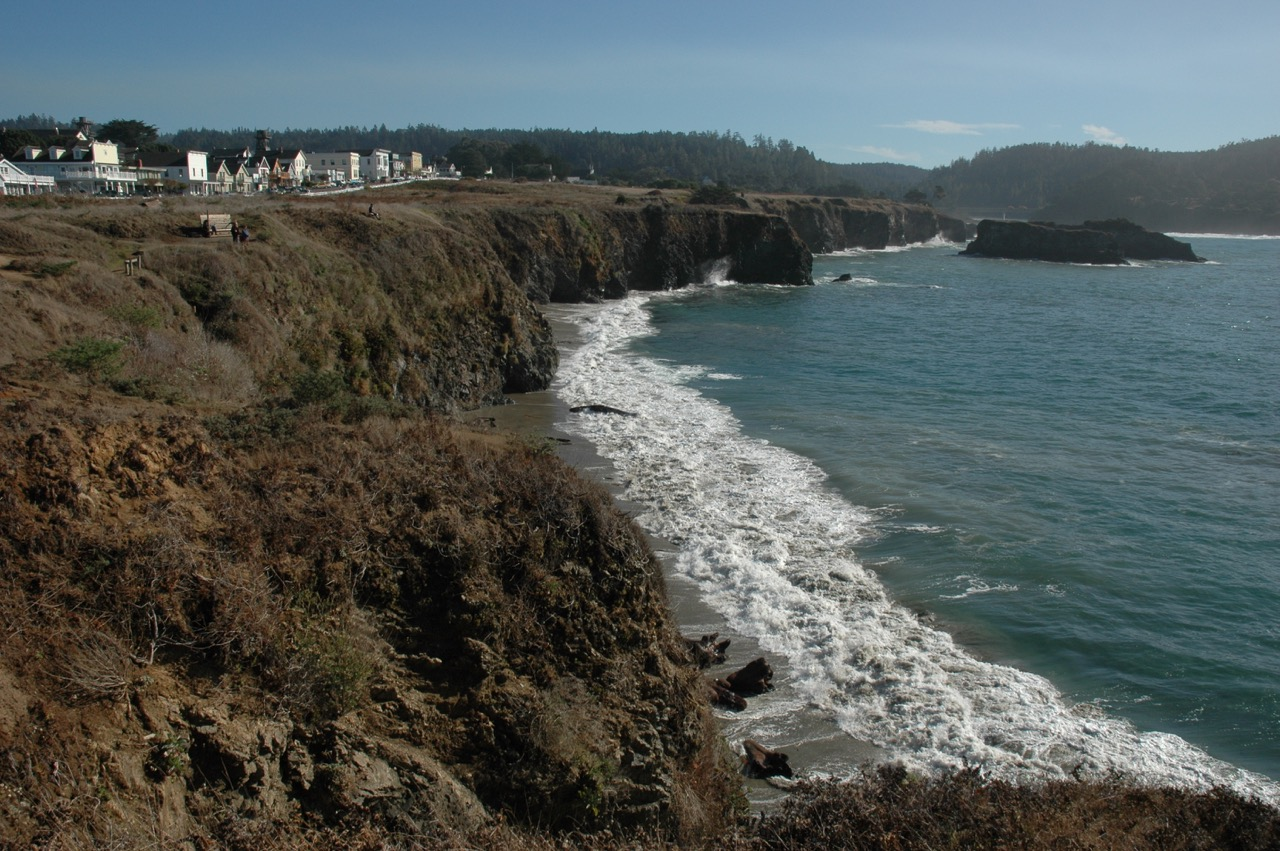 Mendocino Downtown Overlooking Pacific Ocean