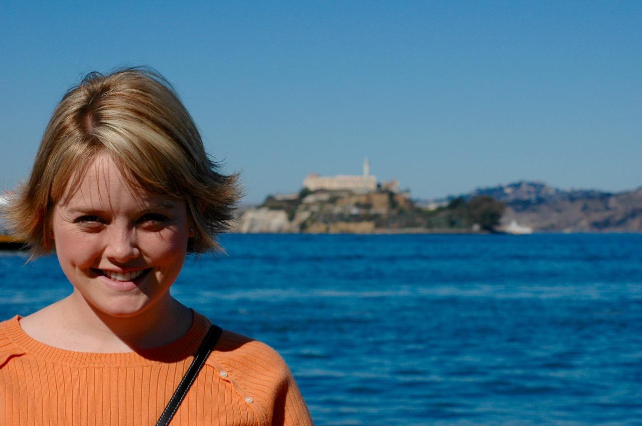 Emily in front of Alcatraz, Fisherman's Wharf San Francisco CA