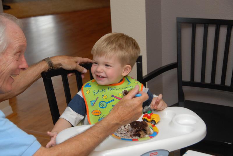Poppop and Hunter share some birthday cake