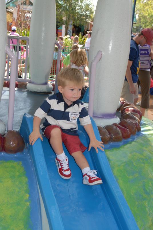Hunter sliding at Toontown playground