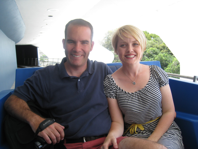 Patrick and Emily riding the people mover