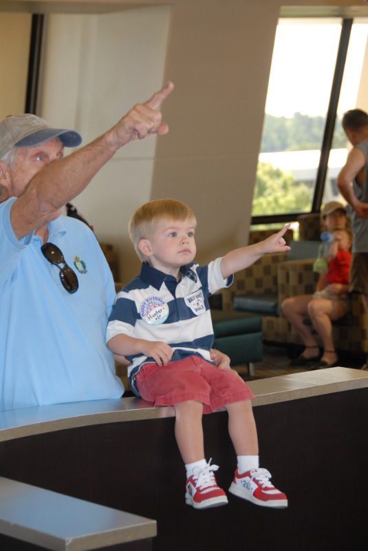 Poppop and Hunter watching for monorails